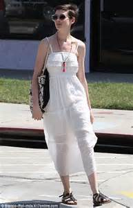 Anne Hathaway stepped out in Los Angeles in a white summer