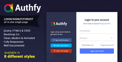 Authfy - Responsive Login and Signup Page Template by